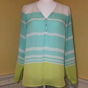 LC Lauren Conrad Long Sleeve Blouse Blue and Green
